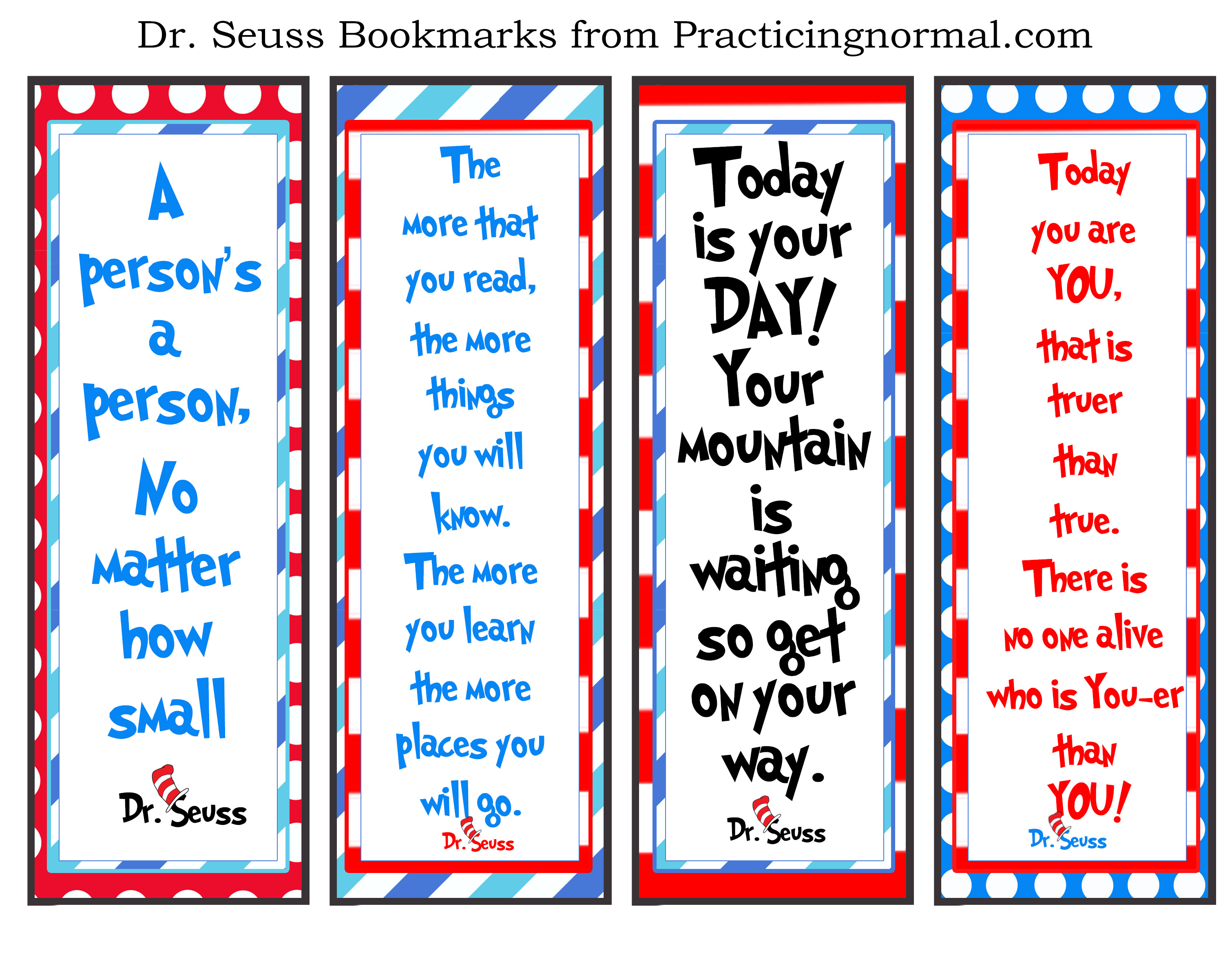 Unforgettable Dr. Seuss Quotes from Practicingnormal  #drseuss #books #quotes #reading #bookmarks