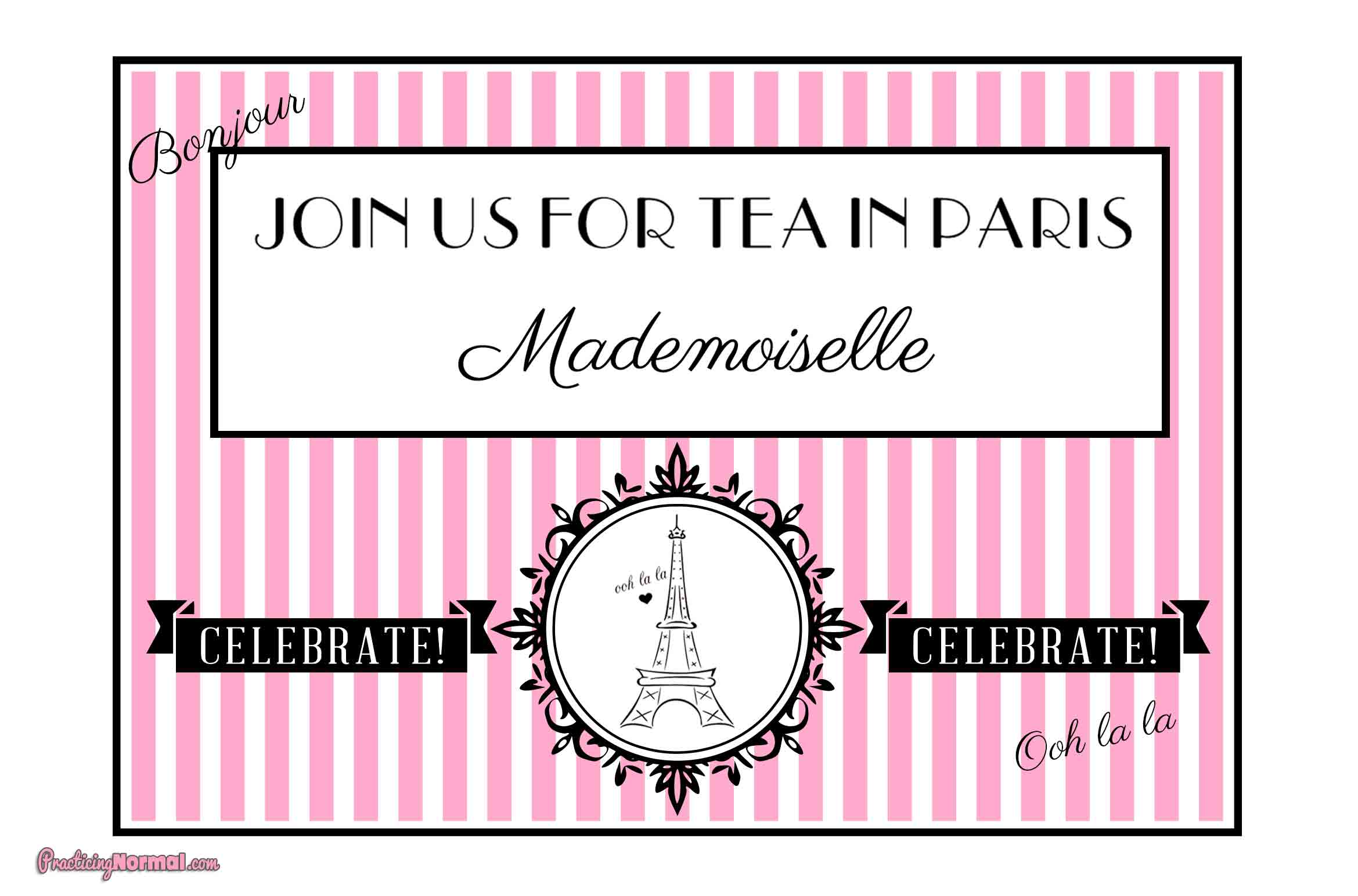 Invitation:  Paris Themed Birthday by Practicingnormal.com