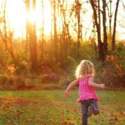 girl running playing autumn trees grass freedom beautiful dance play